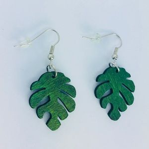 New! Wooden Green Palm Leaf Dangle Earrings